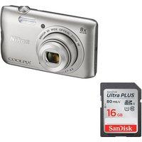 NIKON COOLPIX A300 Compact Camera & 16 GB Memory Card Bundle