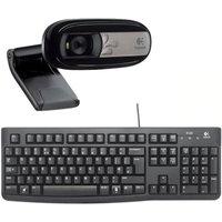 LOGITECH  Full HD Webcam, Wireless Keyboard & Mouse Bundle