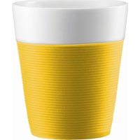 BODUM Bistro Porcelain Mug with Silicone Band - Yellow, Pack of 2, Yellow