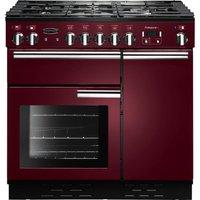 RANGEMASTER  Professional 90 Dual Fuel Range Cooker - Cranberry & Chrome, Cranberry
