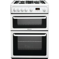 HOTPOINT Ultima HAG60P Gas Cooker - White, White