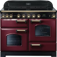 RANGEMASTER Classic Deluxe 110 Electric Induction Range Cooker - Cranberry & Brass, Cranberry
