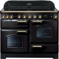 RANGEMASTER Classic Deluxe 110 Electric Induction Range Cooker - Black & Brass, Black