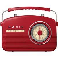 AKAI A60010R Portable Analogue Retro Radio - Red, Red