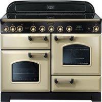 RANGEMASTER Classic Deluxe 110 Electric Induction Range Cooker - Cream & Brass, Cream