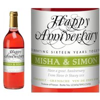 French Vin du France Rosé Wine Wedding Anniversary Label in Gold Box