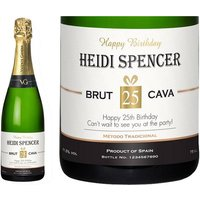 Personalised Cava with Birthday Label in a Gold Gift Box