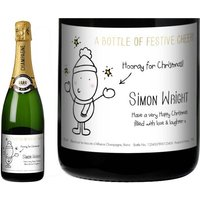 Chilli and Bubble's Christmas Champagne Label in a Gold Gift Box