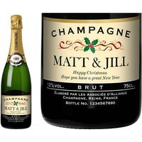 Personalised Champagne with Festive Label in a Gold Gift Box