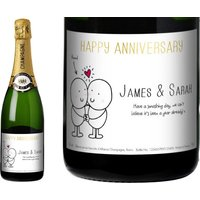 Chilli and Bubble's Anniversary Champagne Label in a Gold Gift Box