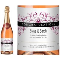 Personalised Sparkling Rosé Congratulations Label in Gold Gift Box