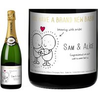 Chilli and Bubble's New Baby Champagne Label in a Gold Gift Box
