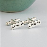 Personalised Rectangle Silver Cufflinks