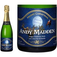 Personalised Cava with Santa Christmas Label in a Gold Gift Box