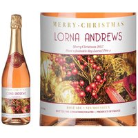 Sparkling Rose Wine - Decorations Xmas Label in Gold Gift Box