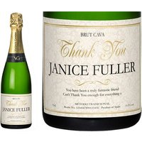 Personalised Cava Thank You Floral Label in a Gold Gift Box