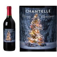 Personalised French Vin du France Red Wine Tree Lights Christmas Label in a Gold Box