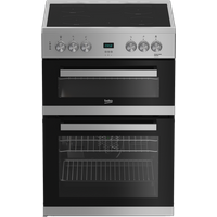 EDC633S 60cm Double Oven Electric Cooker with Ceramic Hob | Silver