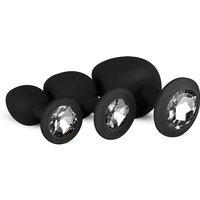 Siliconen Buttplug Set Met Diamantjes - Zwart