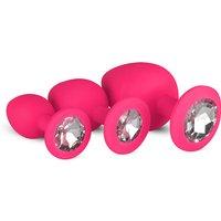 Siliconen Buttplug Met Diamant - Roze