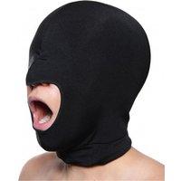 Zwarte rekbare masker met open mond