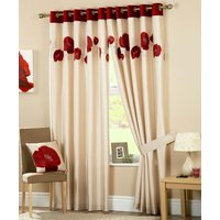 Red Danielle Ready Made Eyelet Lined Curtains