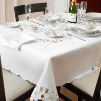 White/Silver Cut out Poinsettia Table Cloth