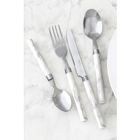 Next 16 Piece Marble Effect Cutlery Set - White