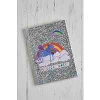 Next A5 Glitter Unicorn Notebook - Silver
