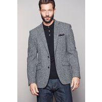 Mens Next Grey Signature Harris Tweed Wool Tailored Fit Jacket