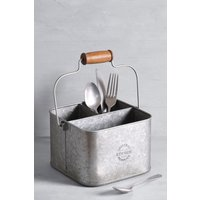 Next Galvanized Metal Cutlery Caddy - Silver