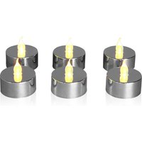 Next Set of 6 LED Tealight Candles - Silver