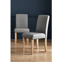 Next Set Of 2 Moda II Faux Leather Dining Chairs - Grey