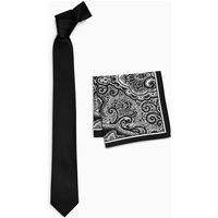 Mens Next Black Fine Textured Tie With Black/White Printed Paisley Pocket Square - Black
