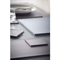 Next Set Of 4 Faux Leather Placemats And Coasters - Grey