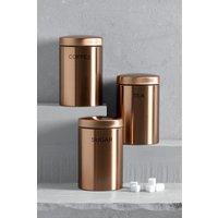 Next Set of 3 Copper Effect Storage Tins - Copper