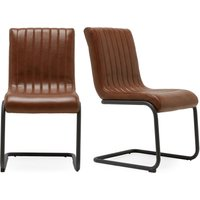 Next Set Of 2 Bernie Faux Leather Dining Chairs - Tan