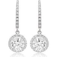 Womens Beaverbrooks 9ct White Gold Cubic Zirconia Drop Earrings - Silver