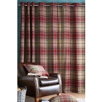 Next Morcott Woven Check Eyelet Lined Curtains - Red