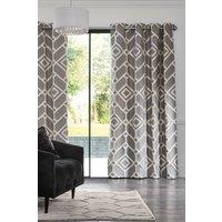 Next Lattice Geo Eyelet Curtains - Grey