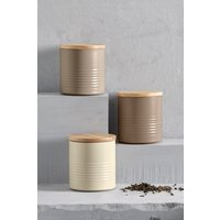 Next Set of 3 Neutral Ripple Storage Tins - Cream