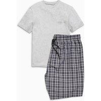 Mens Next Grey Check Woven Short Set - Grey