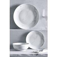 Next 12 Piece Marble Effect Dinner Set - White