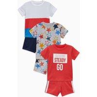 Boys Next Multi Star/Slogan Pyjamas Three Pack (9mths-8yrs) - Red