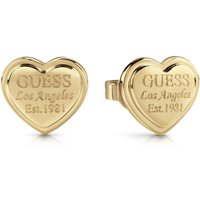 Guess Gold Plated Heart-shaped Stud Earrings With Engraved Logo.