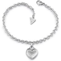 Guess Rhodium Plated Bracelet With Logo Heart Charm.
