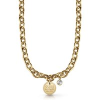 Guess Gold Plated Chain Necklace With Coin Pendant And Swarovski® Crystal.