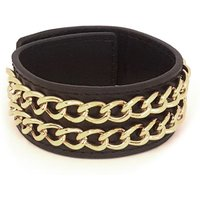 Guess Black Leather Cuff Bracelet With Two Gold Plated Chains.