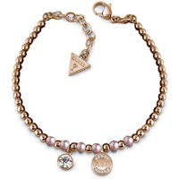 Guess Rose Gold Plated Bead Bracelet With Pink Swarovski® Pearls, Swarovski® Crystal Charm And Logo Coin Charm.