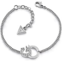 Guess Rhodium Plated Bracelet With G-handcuff Pendant And Swarovski® Crystals